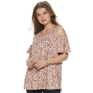 New! Elle Pink Leopard Print cold-shoulder top